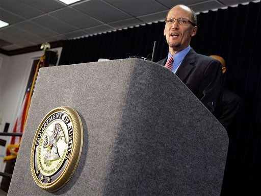 Department of Justice Attorney General for the Civil Rights Division Thomas E. Perez announces the department's findings following an investigation into the Maricopa County Sheriff's Office, lead by controversial Sheriff Joe Arpaio.(AP Photo/Paul Connors)