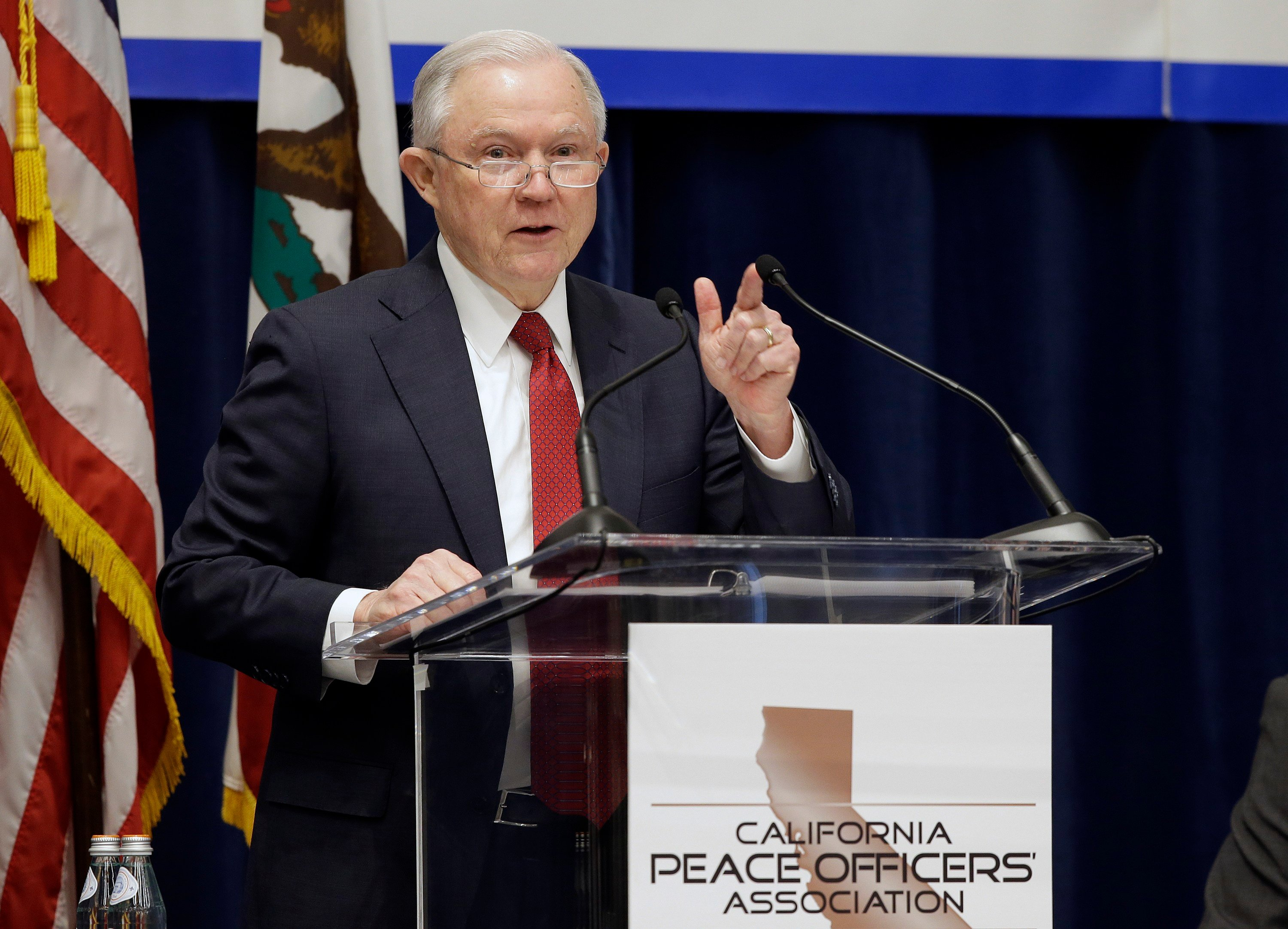 U.S. Attorney General Jeff Sessions addresses the California Peace Officers' Los Alamitos will consider an ordinance to exempt itself from a state law that limits cooperation between local police and federal immigration agents. (AP Photo/Rich Pedroncelli)