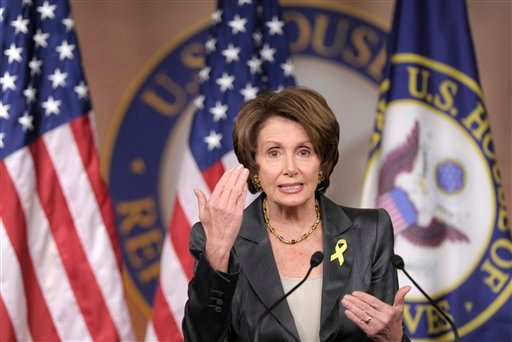 House Minority Leader Nancy Pelosi of Calif. gestures during a news conference on Capitol Hill in Washington, Thursday, Dec. 15, 2011. (AP Photo/Susan Walsh)