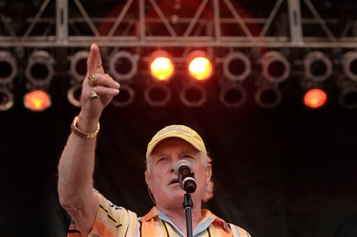In this Sept. 11, 2011 file photo, Mike Love of the Beach Boys sings for a crowd of thousands during the Colorado Remembers 911 event at Civic Center Park in Denver. (AP)
