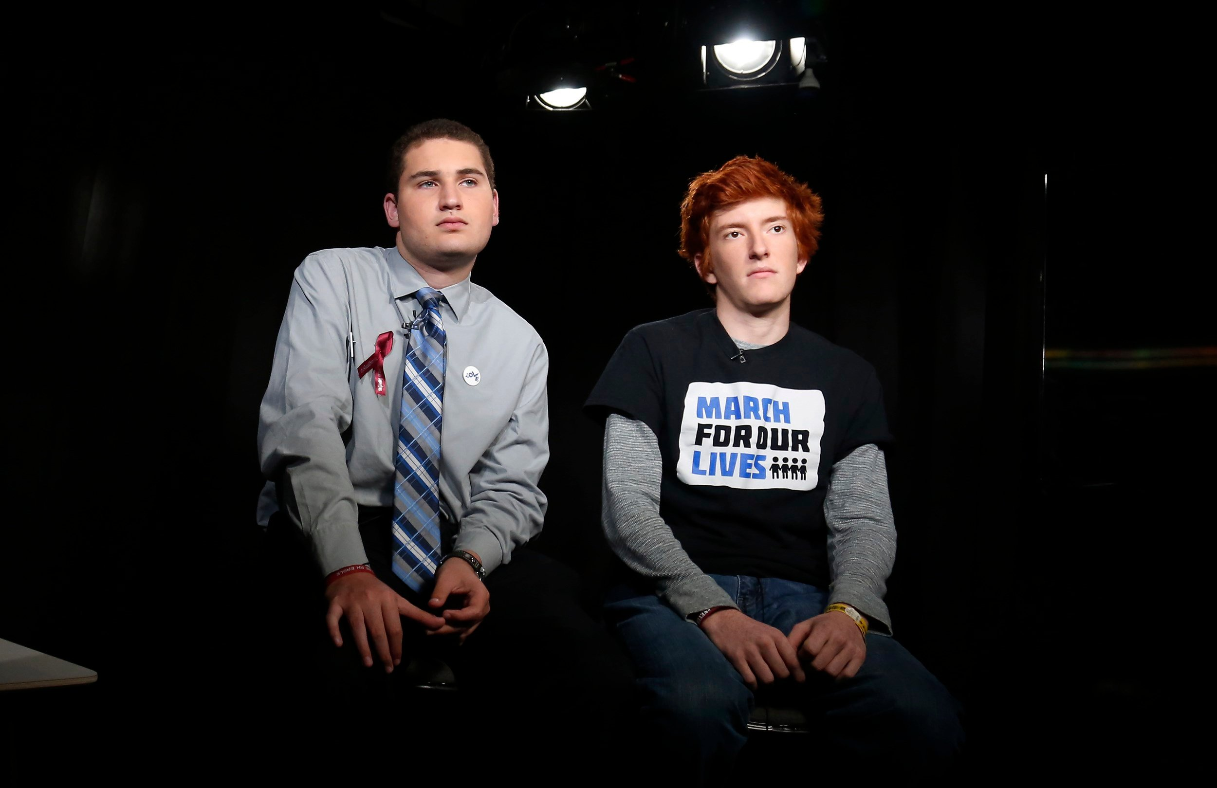 Marjory Stoneman Douglas High School students Alex Wind and Ryan Deitsch, right, discuss the upcoming marches in Washington and elsewhere.