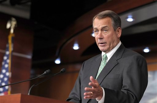 House Speaker John Boehner of Ohio gestures during a news conference on Capitol Hill in Washington, Thursday, Dec. 15, 2011. (AP Photo/Susan Walsh)