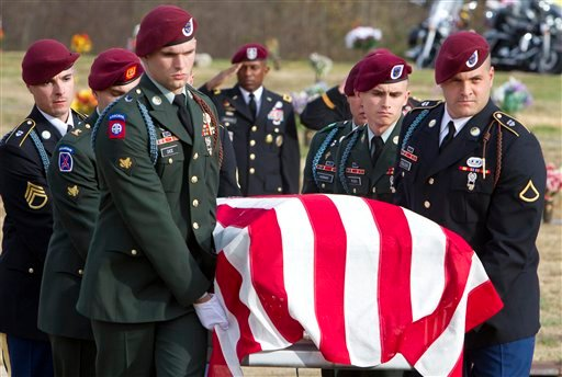 Hickman's unit, the 2nd Battalion, 325th Airborne Infantry from Fort Bragg, performed honor guard duties during the burial of Army Specialist David Hickman with full military honors at Lakeview Memorial Park, on Nov. 26, 2011, in Greensboro, N.C. (AP)