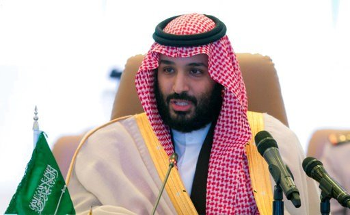 FILE - In this Nov. 26, 2017 file photo released by the state-run Saudi Press Agency, Saudi Crown Prince Mohammed bin Salman speaks at a meeting of the Islamic Military Counterterrorism Alliance in Riyadh, Saudi Arabia.