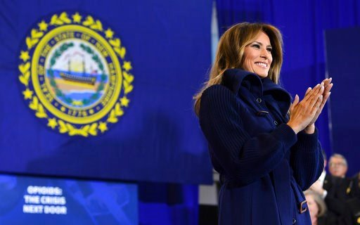 First lady Melania Trump speaks at Manchester Community College in Manchester, N.H., Monday, March 19, 2018. President Trump is in New Hampshire to unveil more of his plan to combat the nation's opioid crisis. (AP Photo/Susan Walsh)