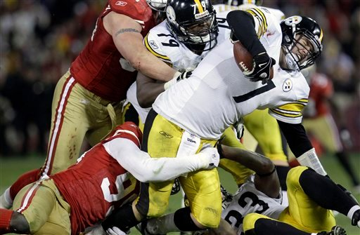 Pittsburgh Steelers quarterback Ben Roethlisberger (7) is sacked by San Francisco 49ers linebacker Aldon Smith (99) during the fourth quarter of an NFL football game in San Francisco, Monday, Dec. 19, 2011. (AP Photo/Paul Sakuma)