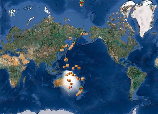 FILE - In this Dec. 24, 2010 file image provided by noradsanta.org, the official NORAD tracking of Santa Claus is shown on a satellite map of the world. (AP Photo/NORAD, via noradsanta.org)