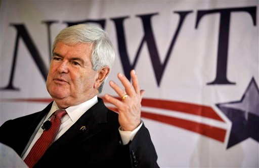 Republican presidential candidate former House Speaker Newt Gingrich speaks during a campaign stop, Friday, Dec. 23, 2011, in Columbia, S.C. (AP Photo/Rainier Ehrhardt)