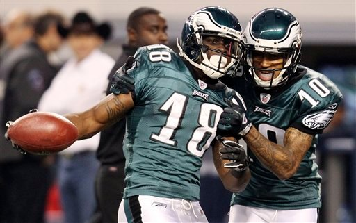 Philadelphia Eagles wide receiver Jeremy Maclin (18) celebrates his touchdown with wide receiver DeSean Jackson (10) during the first half of an NFL football game, Saturday, Dec. 24, 2011, in Arlington, Texas. (AP Photo/Sharon Ellman)