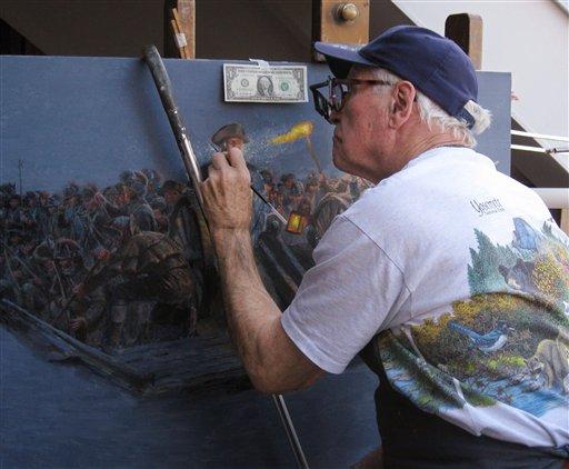 "In this November 2011 photo, artist Mort Kuntsler works on his painting ""Washington's Crossing: McKonkey's Ferry, Dec. 6, 1776."" (AP Photo/Jane Kuntsler)"