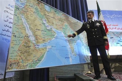 Iran's navy chief Adm. Habibollah Sayyari briefs media on an upcoming naval exercise, in a press conference in Tehran, Iran, Thursday, Dec. 22, 2011. (AP Photo/Fars News Agency, Hamed Jafarnejad)