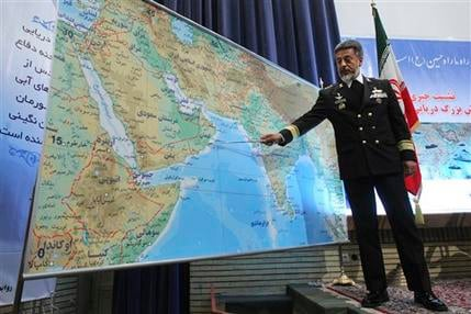 Iran's navy chief Adm. Habibollah Sayyari briefs media on an upcoming naval exercise, in a press conference in Tehran, Iran, Thursday, Dec. 22, 2011. (AP Photo/Fars News Agency, Hamed Jafarnejad)
