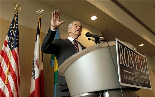 Republican presidential candidate, Rep. Ron Paul, R-Texas, speaks during a campaign stop in Dubuque, Iowa, Thursday, Dec. 22, 2011. (AP Photo/Charlie Riedel)