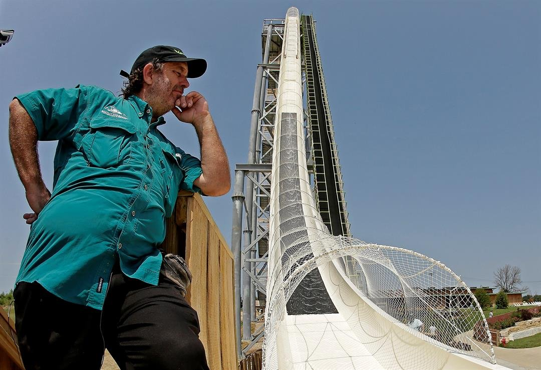 "FILE - In this July 9, 2014, file photo, ride designer Jeffery Henry looks over his creation, the world's tallest waterslide called ""Verruckt"" at Schlitterbahn Waterpark in Kansas City, Kan. (AP Photo/Charlie Riedel, File)"