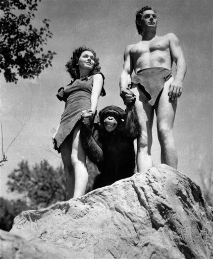 FILE - A file photo shows Johnny Weissmuller, right, as Tarzan, Maureen O'Sullivan as Jane, and Cheetah the chimpanzee, in a scene from the 1932 movie Tarzan the Ape Man. A Florida animal sanctuary says Cheetah the chimpanzee from the Tarzan movies.