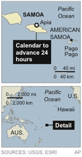 Map locates Samoa; country plans to move their calendar forward one day by moving across the International Dateline