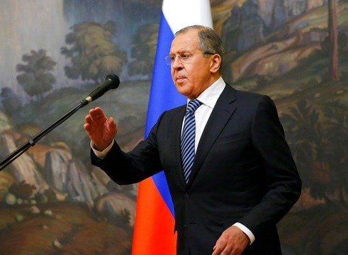 Russian Foreign Minister Sergey Lavrov prepares to speak in Moscow, Russia, Thursday, March 29, 2018.