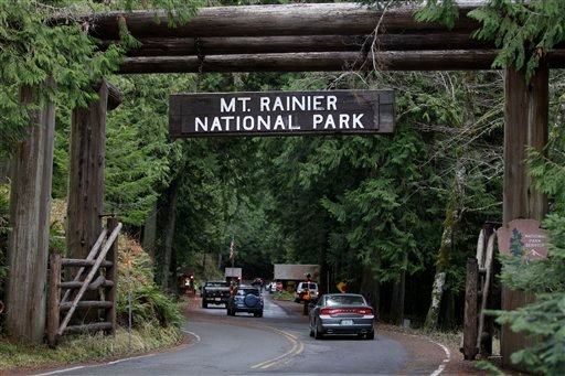 The west entrance to Mount Rainier National Park is shown, Sunday, Jan. 1, 2012 in Washington State. (AP)