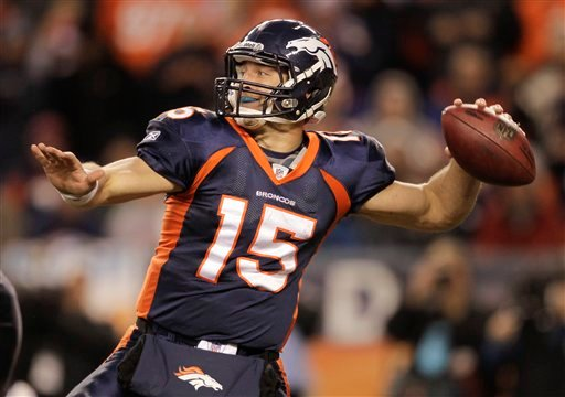Denver Broncos quarterback Tim Tebow (15) throws against the Kansas City Chiefs in the fourth quarter of an NFL football game, Sunday, Jan. 1, 2012, in Denver. (AP Photo/Joe Mahoney)