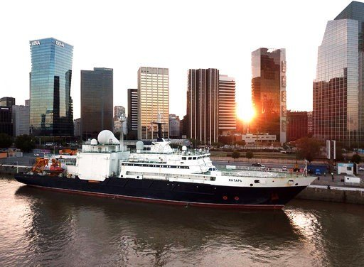 In this 2018 photo provided by Gonzalo Mórtola, the Russian research vessel Yantar is shown docked in Buenos Aires, Argentina. Russian ships are skulking around underwater communications cables, worrying the U.S. and its allies the Kremlin might be taking