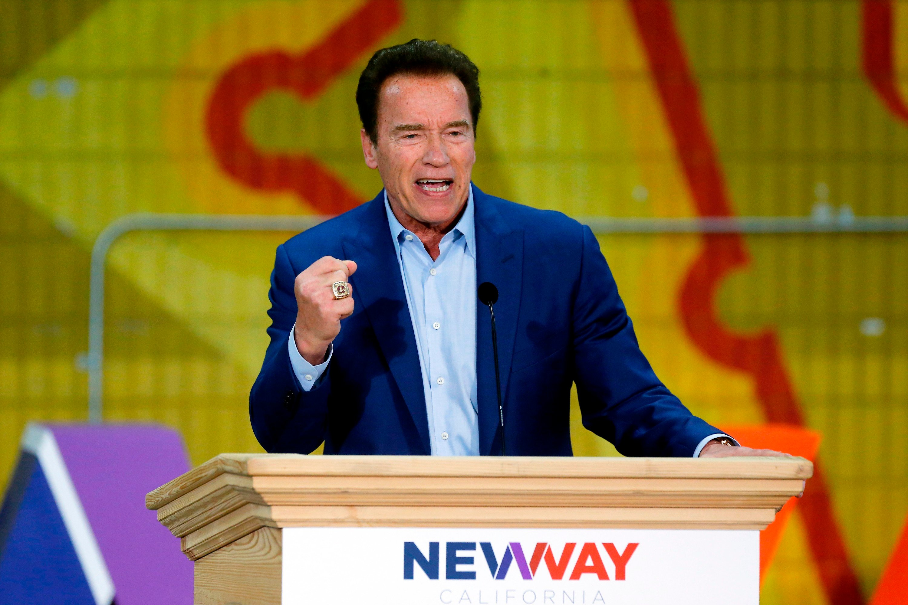 Former California Gov. Arnold Schwarzenegger speaks at the first New Way California Summit in Los Angeles Wednesday, March 21, 2018.