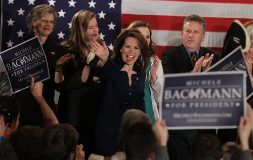 Rep. Michele Bachmann, R-Minn., addresses her supporters at her caucus party at the Marriott in West Des Moines, Iowa, after finishing sixth in the Iowa Caucuses Tuesday night Jan. 3, 2012. (AP Photo/The Des Moines Register, Justin Hayworth)
