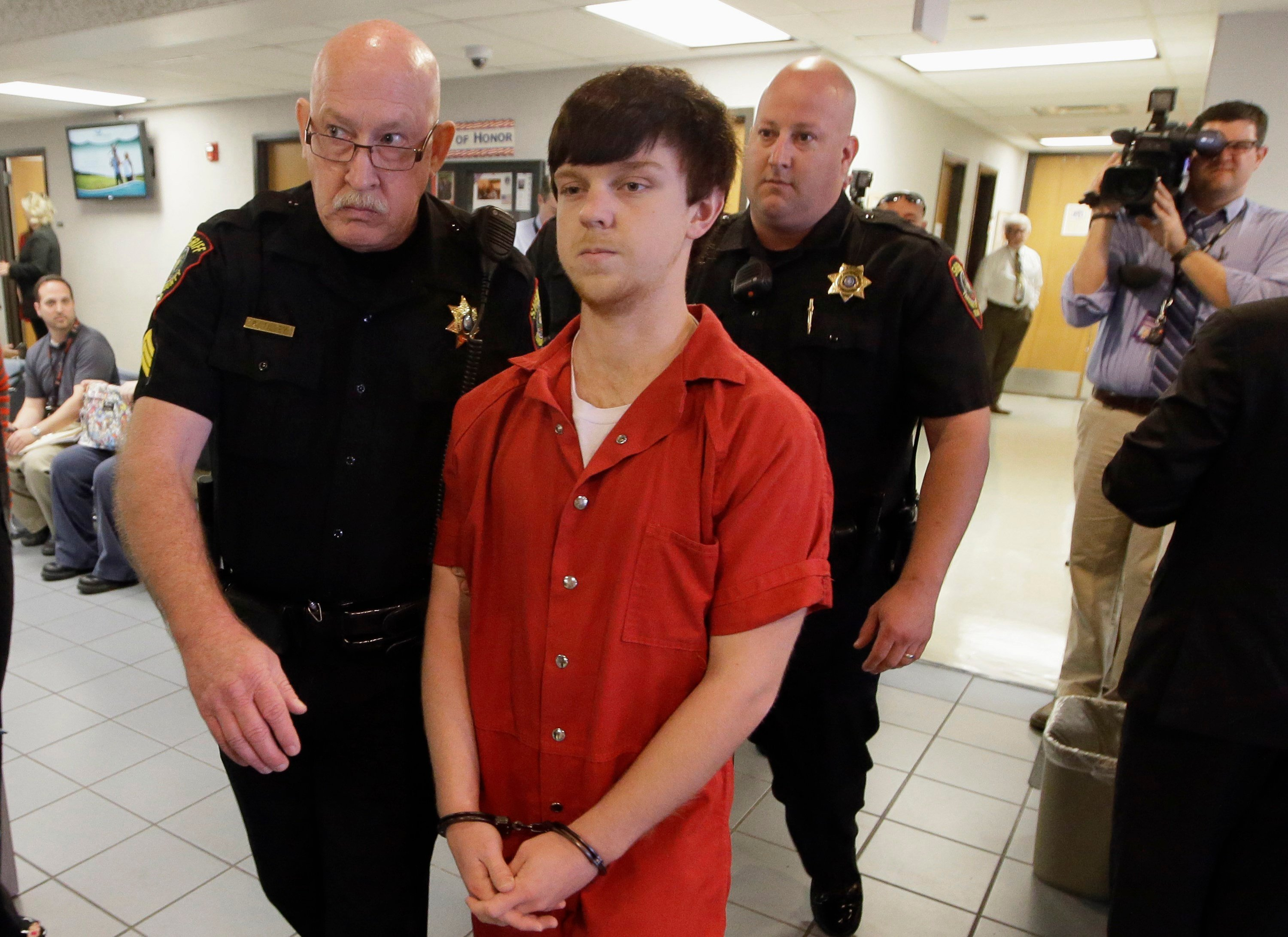 In this Feb. 19, 2016, file photo, Ethan Couch is led to a juvenile court for a hearing in Fort Worth, Texas.