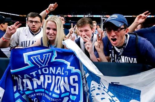 Villanova fans cheer before the championship game against Michigan in the Final Four NCAA college basketball tournament, Monday, April 2, 2018, in San Antonio. (AP Photo/David J. Phillip)