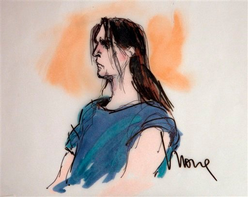 In this courtroom sketch, Harry Burkhart, who is suspected in a series of arson fires, appears during his arraignment in Los Angeles Superior Court Jan. 4, 2012 in Los Angeles.(AP Photo/Mona Shafer Edwards)