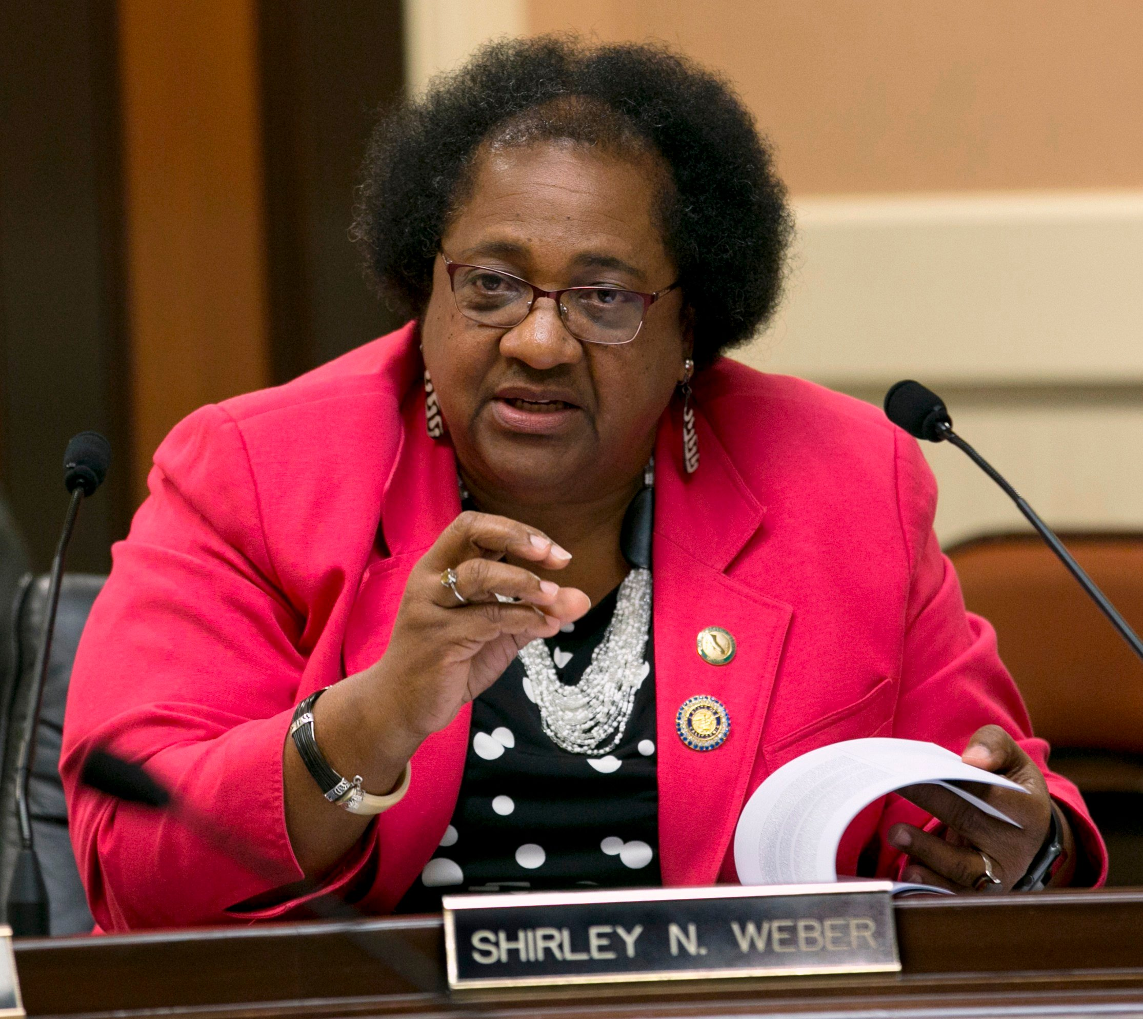 FILE - Assemblywoman Shirley Weber, D-San Diego, questions representatives of the California State University system about a recent audit of spending on management staff, during a joint legislative hearing in Sacramento. (AP Photo/Rich Pedroncelli, File)