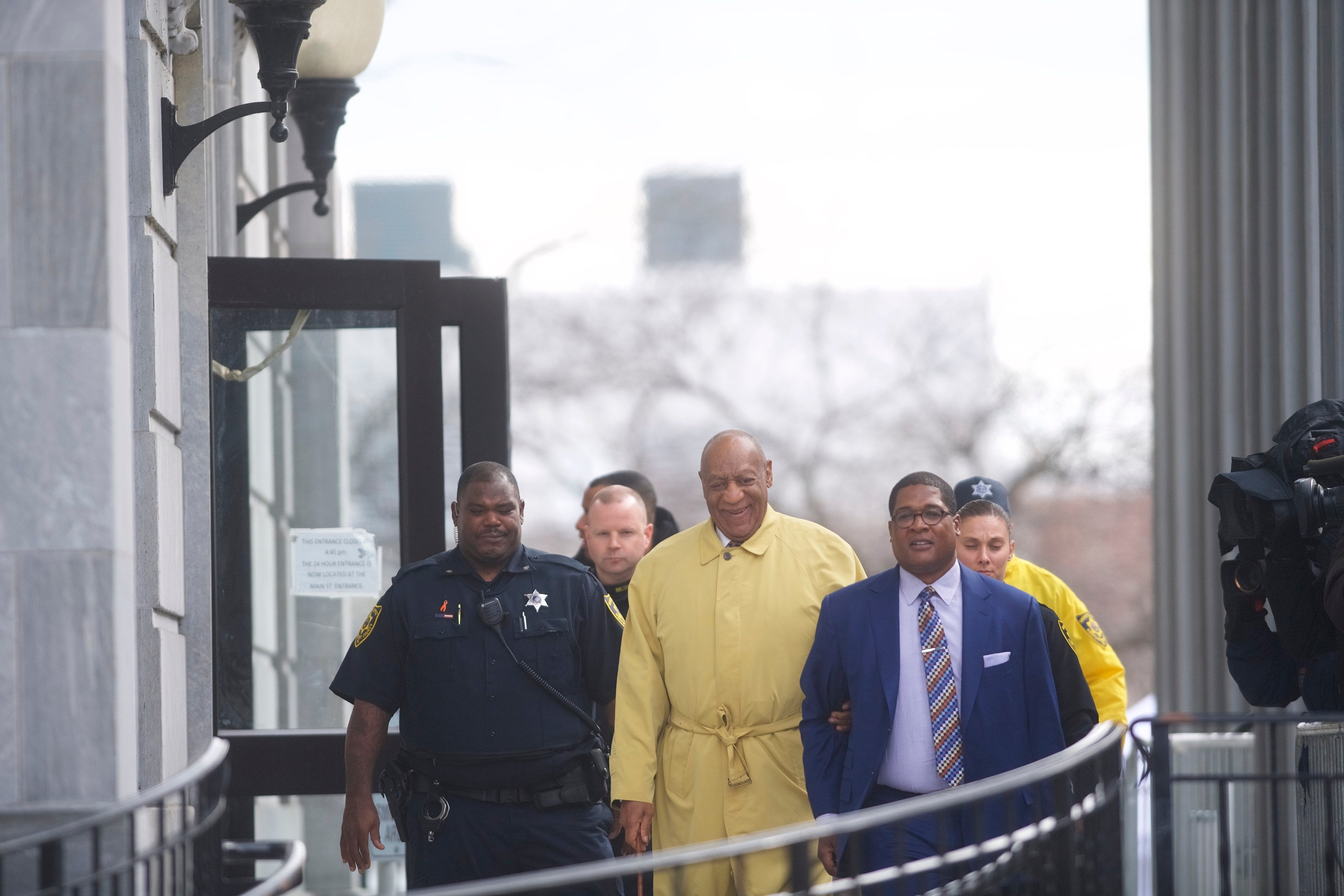 Bill Cosby departs the Montgomery County Courthouse after jury selection in his sexual assault retrial April 2 in Norristown, PA. More than 40 women have accused the 80 year old entertainer of sexual assault. (Photo by Mark Makela/Getty Images)