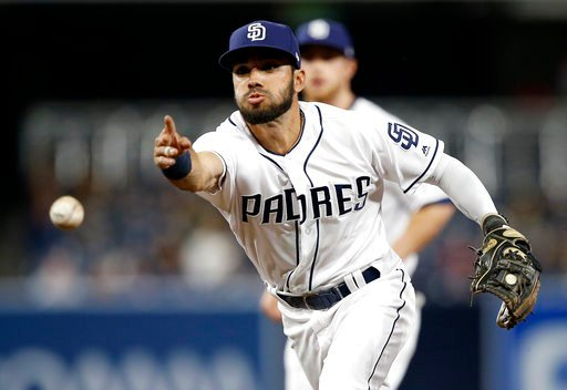 San Diego Padres second baseman Carlos Asuaje underhands the ball to first, but not in time to get Colorado Rockies' Carlos Gonzalez during the seventh inning of a baseball game in San Diego, Monday, April 2, 2018. (AP Photo/Alex Gallardo)