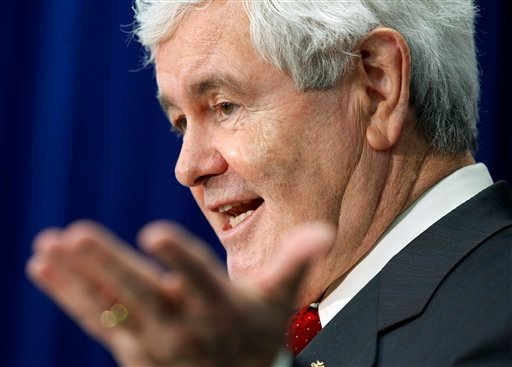 Republican presidential candidate, former House Speaker Newt Gingrich gestures during a campaign stop in Newport, N.H. Friday, Jan. 6, 2012. (AP Photo/Elise Amendola)