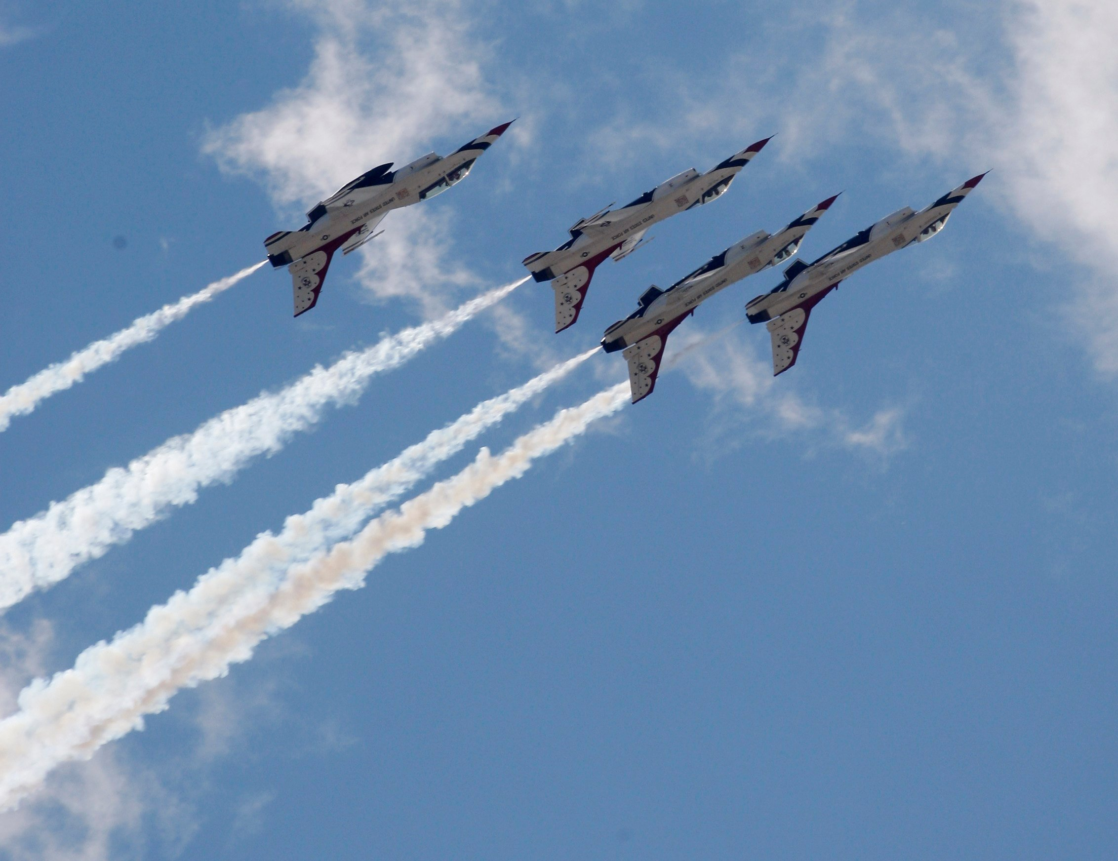 In this file photo the U.S. Air Force Thunderbirds practice during a rehearsal for an air show, in Oklahoma City. The Air Force says a member of its Thunderbirds flight team was killed in the crash of his F-16 in Nevada. (AP Photo/Sue Ogrocki,File)