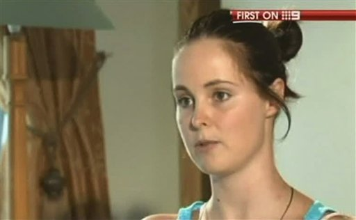 In this undated image made from video by Australia's Channel 9, Erin Langworthy, 22, of Perth, Australia, talks about her bungee jumping accident from the Victoria Falls Bridge to the Zambezi River on the border of Zimbabwe and Zambia, during an interview