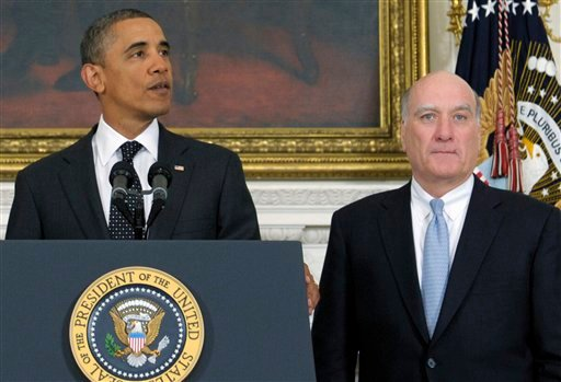 President Barack Obama, accompanied by White House Chief of Staff William Daley, announces Daley is leaving and current Budget Director Jack Lew will take over as chief of staff, Monday, Jan. 9, 2012, in the State Dining Room at the White House.