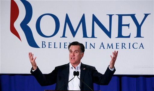 Republican presidential candidate, former Massachusetts Gov. Mitt Romney, campaigns at the Nashua Chamber of Commerce Breakfast in Nashua, N.H., Monday, Jan. 9, 2012. (AP Photo/Charles Dharapak)