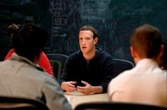 In this Nov. 9, 2017, file photo, Facebook CEO Mark Zuckerberg meets with a group of entrepreneurs and innovators during a round-table discussion at Cortex Innovation Community technology hub in St. Louis.