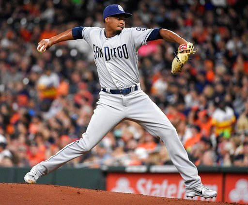 San Diego Padres starting pitcher Luis Perdomo delivers during the first inning of a baseball game against the Houston Astros, Friday, April 6, 2018, in Houston. (AP Photo/Eric Christian Smith)