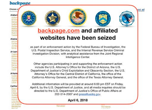 This Friday, April 6, 2018 image shows an FBI notice on the Backpage.com website. Federal law enforcement authorities are in the process of seizing Backpage.com and its affiliated websites as part of an enforcement action by the FBI and other agencies. (A