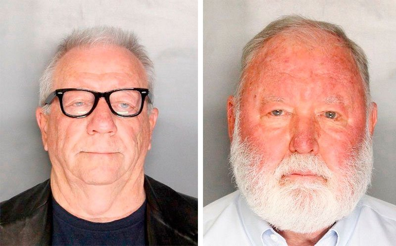 These undated file booking photos provided by the Sacramento County Sheriff's Office shows Michael Lacey and James Larkin.
