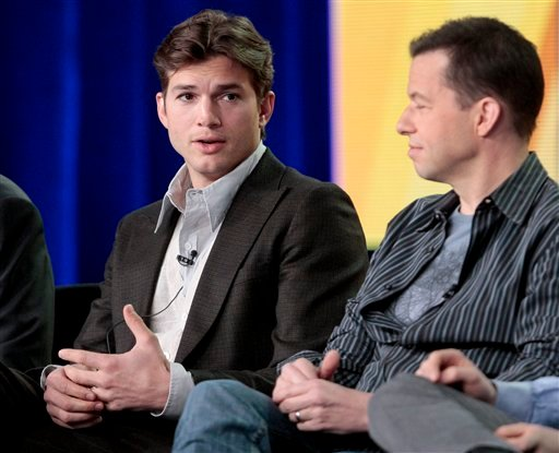 "Actor Ashton Kutcher, left, speaks as actor Jon Cryer looks on during the panel discussion for the sitcom ""Two and a Half Men"" at the Television Critics Association Winter Press Tour for CBS, the CW and Showtime, Wednesday, Jan. 11, 2012, in Pasadena, Cal"