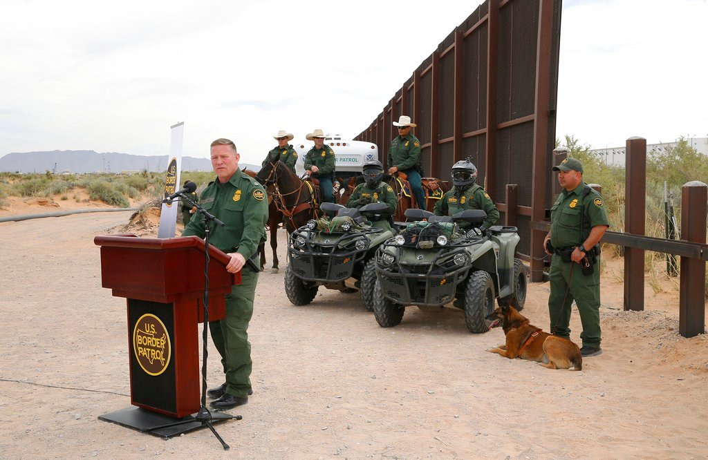 Aaron Hull, chief patrol agent of the U. S. Customs and Border Protection's El Paso Sector, speaks where construction on a new segment of the border wall will be built, near Santa Teresa, N.M. (Ruben R. Ramirez/The El Paso Times via AP)