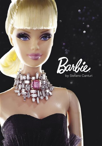 This undated photo provided by Canturi Jewels shows a custom-designed Barbie wearing a necklace featuring a one-carat pink diamond, which will make the doll the world's most expensive Barbie when it goes on the auction block.