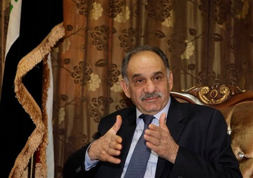 Iraqi Deputy Prime Minister Saleh al-Mutlaq speaks during an interview with The Associated Press in Baghdad, Iraq, Friday, Jan. 13, 2012. (AP Photo/Karim Kadim)