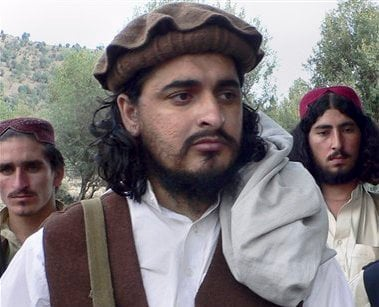 In this Oct. 4, 2009 file photo, Pakistani Taliban chief Hakimullah Mehsud arrives to meet with media in Sararogha of Pakistani tribal area of South Waziristan along the Afghanistan border. (AP)