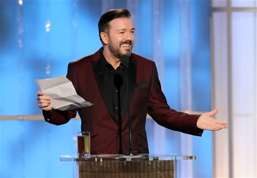 In this image released by NBC, host Ricky Gervais speaks during the 69th Annual Golden Globe Awards, Sunday, Jan. 15, 2012 in Los Angeles. (AP Photo/NBC, Paul Drinkwater)