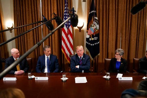 President Donald Trump speaks during a meeting with governors and lawmakers in the Cabinet Room of the White House, Thursday, April 12, 2018, in Washington. From left, Gov. Pete Ricketts, R-Neb., Sen. John Thune, R-S.D., Trump, and Sen. Joni Ernst, R-Iowa
