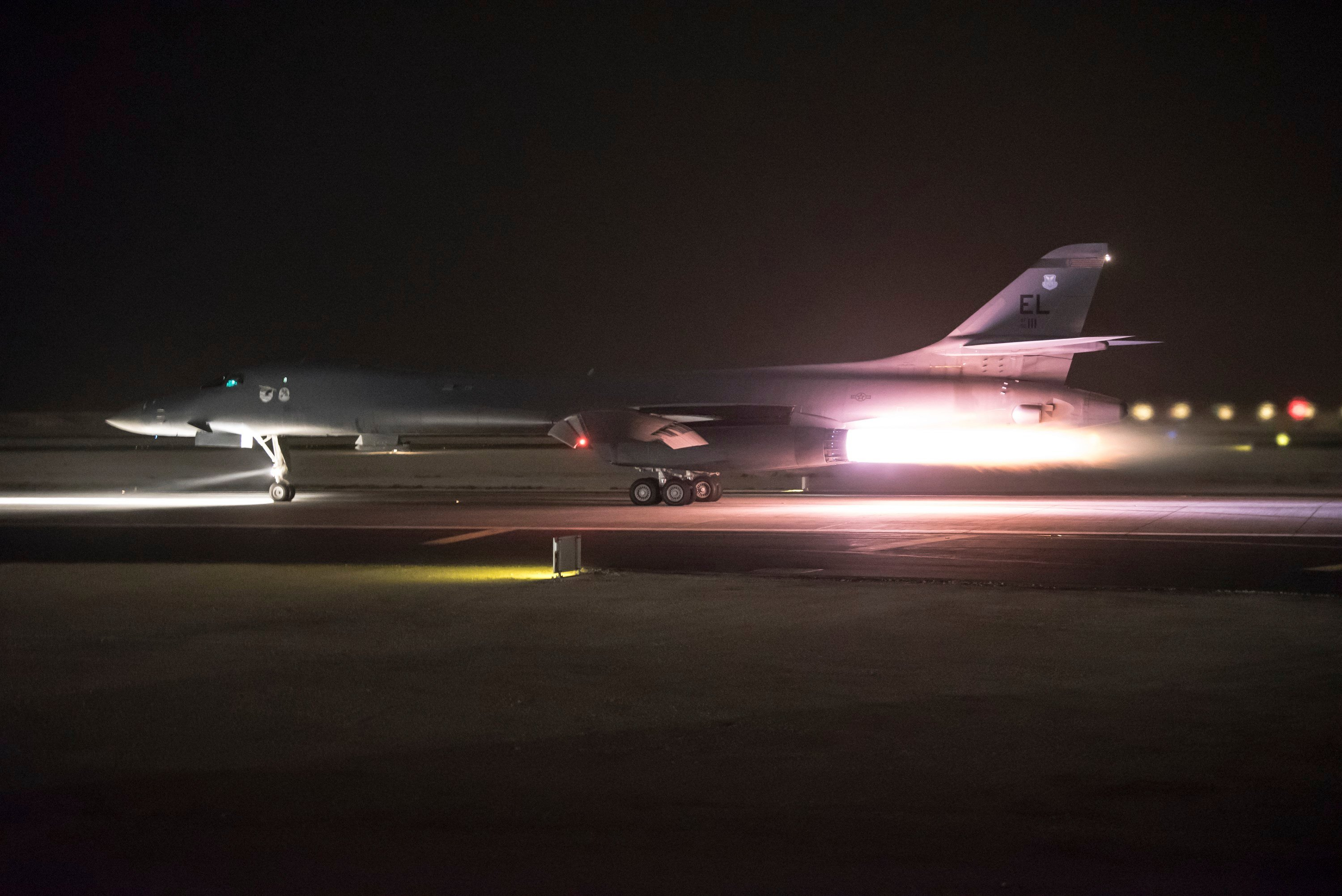 This photo provided by the U.S. Air National Guard shows 34th Expeditionary Bomb Squadron B-1B Lancer aircraft departing from Al Udeid Air Base, Qatar, early Saturday, April 14. (Master Sgt. Phil Speck/U.S. Air National Guard via AP)