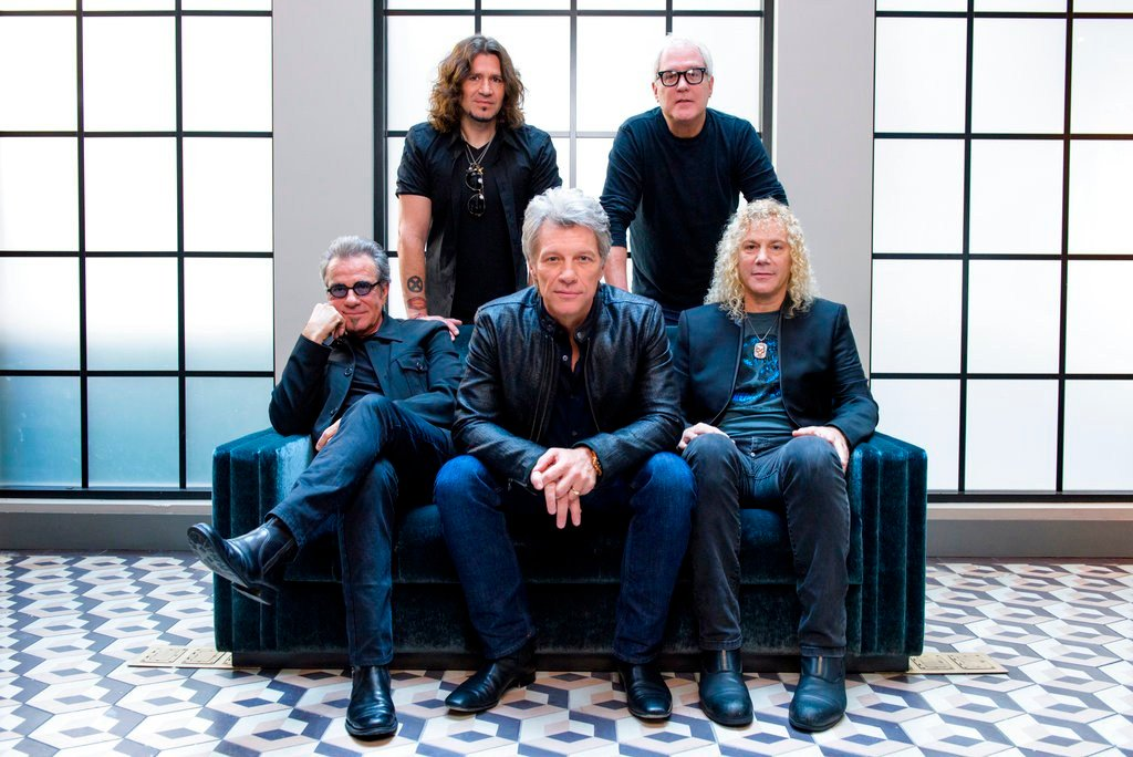 "FILE - Members of Bon Jovi pose for a portrait in promotion of their new album ""This House is Not for Sale."" The band will be inducted to the Rock and Roll Hall of Fame. (Photo by Drew Gurian/Invision/AP, File)"